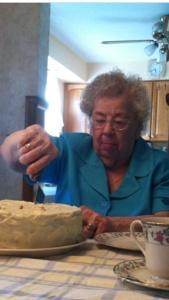 My Grandmom, cutting her 97th Birthday Cake